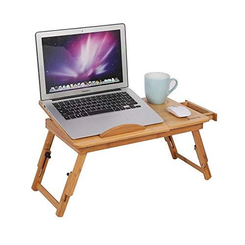 JIADUOBAO Mesa de escritorio para ordenador portátil, grande, ajustable, 100% bambú, con ventilador USB, bandeja plegable para servir el desayuno con cajón