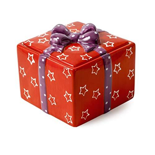 Scatola regalo creativa in ceramica con coperchio, portagioie piccolo, tè, zucchero, snack, biscotti e barattoli per snack, può essere utilizzata anche come decorazioni per la casa (red)
