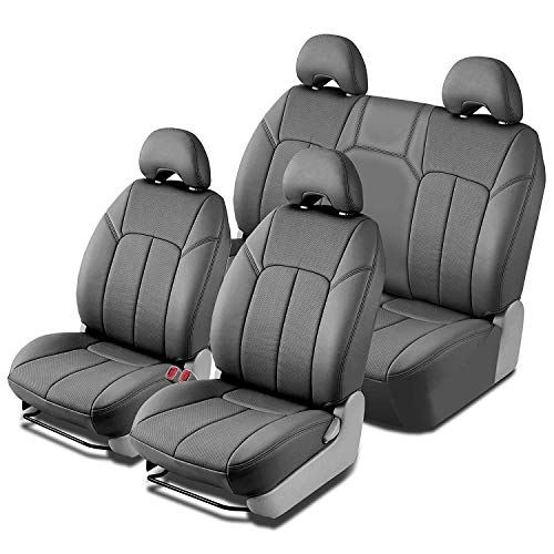 Clazzio 704022gryy Grey Leather Front and Rear Row Seat Cover for Dodge Ram 1500 Quad Cab/Crew Cab, 1 Pack