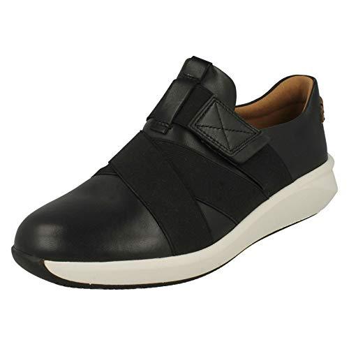 Clarks Damen Un Rio Strap Sneaker, Schwarz (Black Leather), 42 EU