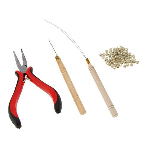 Fenteer Ensemble de crochets de pinces d'extensions de cheveux, Idéal pour une utilisation avec des micro anneaux ou l'enlèvement de la liaison - Beige