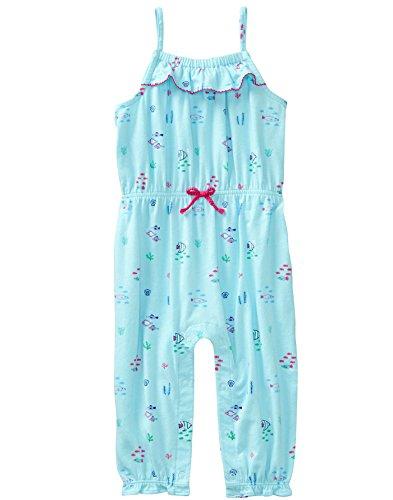 Gymboree Baby Girls 1-Piece Long Pant Bodysuit, Pool Blue, 6-12 mo