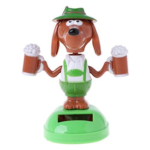 Vivianu perro bailarín alimentado por energía solar, cerveza de cabeza de burbuja, juguete educativo, juguete de adorno de coche para niños