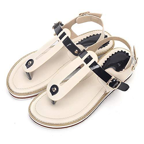 LXYYBFBD Sandalen voor vrouwen, romige witte Romeinse string sandalen, Slings, gespen, dames sandalen, ronde kop, platte sandalen, tentbodem