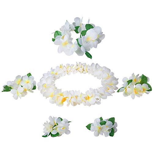 Udalyn Hawaiian Luau Flower Leis Jumbo Necklaces Bracelets Headband Anklets Set 6 Pack White