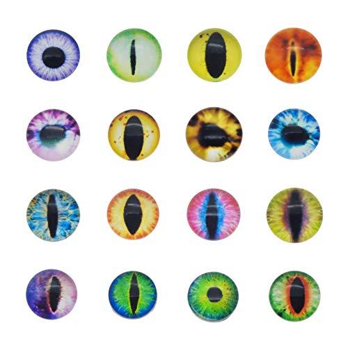 Julie Wang Drachenaugen-Cabochons aus Glas, rund, sortierte Größen, 1 Pack/20 Stück, glas, 30 mm