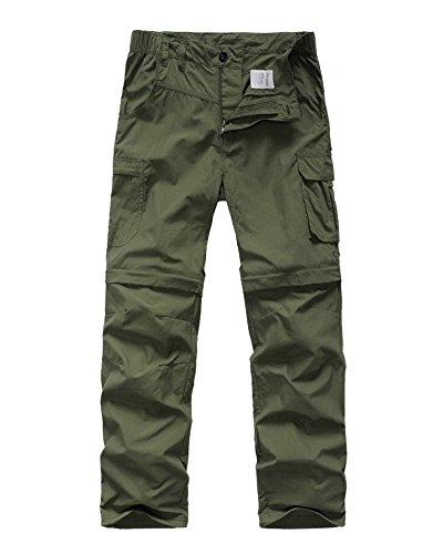 Kids' Cargo Pants, Boy's Casual Outdoor Quick Dry Waterproof Hiking Climbing Convertible Trousers Army Green