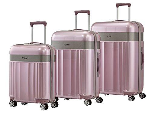 TITAN 4-Rad Koffer Set L/M/S mit TSA Schloss, Bordtrolley erfüllt IATA-Bordgepäckmaß, Gepäck Serie SPOTLIGHT: Edler Trolley in trendigen Farben, 831102-12, wild rose (rosa)