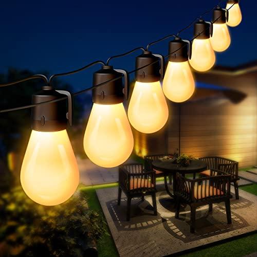 Lichterkette Außen 15M, CGN LED Lichterketten Glühbirnen Warmweiß mit 15er S14 LED Leuchtmittel, IP65 Wasserdicht LED Glühlampen Outdoor für Deko Balkon, Garten, Terrasse,Halloween und Weihnachten