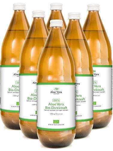 Jugo 100% orgánico de Aloe Vera | Fileteado a mano | Rico en ingredientes naturales | Promedio 1200 mg / l Aloverose | 1 x 1000ml