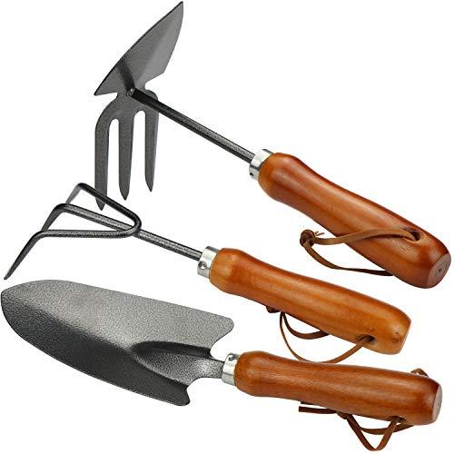 com-four® 3-teiliges Garten-Kleingeräte Set bestehend aus Doppel-Hacke, Hand-Grubber und Blumen-Kelle für Pflanzen und Gartenarbeit (03-teiliges Gartenset)