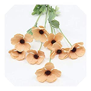 8 Real Touch Artificial Anemone Silk Flowers Artificial Beauty Flower Wedding Hold Home Garden Decoration-Champagne-