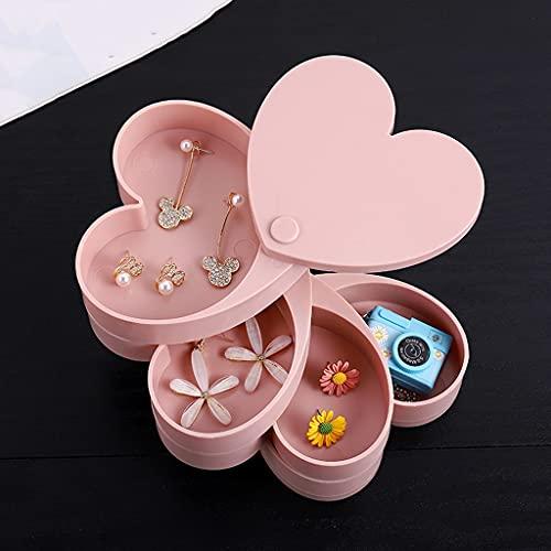 YUTRD ZCJUX Amor Giratorio Caja de joyería Caja de Almacenamiento de Gran Capacidad Anillo de joyería aretes Collar Pendientes portátiles a Prueba de Polvo Caja de Acabado (Color : Pink)