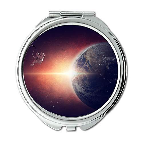 Yanteng Spiegel, Mausefalle Flaschenerde, Astronaut Schwerelosigkeit Raumuniversum Erde Planet Schminkspiegel, Taschenspiegel, tragbarer Spiegel
