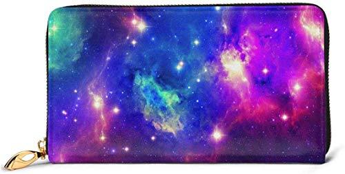 naotaori Cartera de Mujer Space Nebula Galaxy Women\'s Leather Wallets RFID Blocking Zip Around Wallet Clutch Bag Card Holder Fashion Wristlets Coin Purse