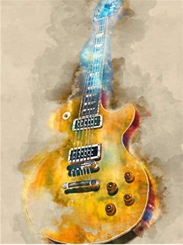 No Brand DIY olieverfschilderij gitaar schilderen op getallen voorgedrukt canvas-olieverfschilderij cadeau voor volwassenen kinderen kits huis 40 * 50 cm