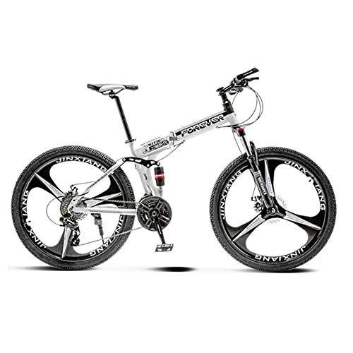 Adult Mountain Bike - 30 Speed Gears Bicycle Dual Disc Brake Bikes, Foldable Design, Front and Rear Double Shock Absorption, Road Bike