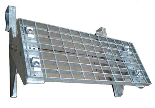 Universal Dachtritt Stahl Feuerverzinkt mit 25 cm Gitterrost mit 42 bis 200 cm Länge (80 cm - 2 Stützen)