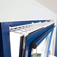 Protective grille for top/bottom of windows Plastic, shatter-proof, lightweight, stable and extendible Dimensions: 75-125 x 16 cm. Colour: White Screw or stick Screws are not included in delivery