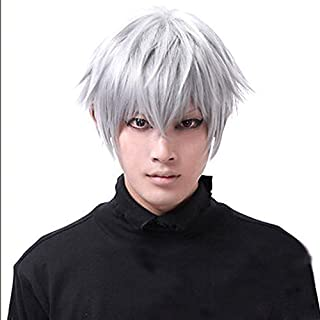 leading-star Tokyo Ghouls Ken Kaneki Cosplay Wig Mens Short Halloween Party Wigs by leading-star