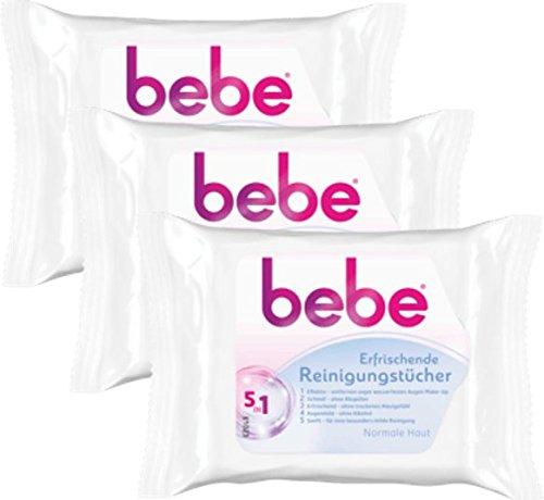 bebe 5in1 Erfrischende Reinigungstücher – Abschminktücher für normale Haut – 3 x 25 Stück