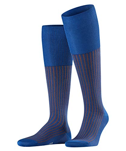 FALKE Herren Kniestrümpfe Oxford Stripe - Baumwollmischung, 1 Paar, Blau (Sapphire 6055), Größe: 41-42