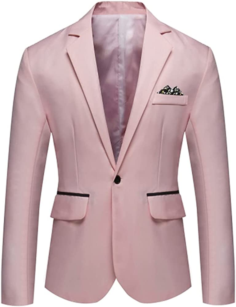 Tender Pink Jacket with Back Wing Pocket Black Single Row One Button Notch Lapell Blazer
