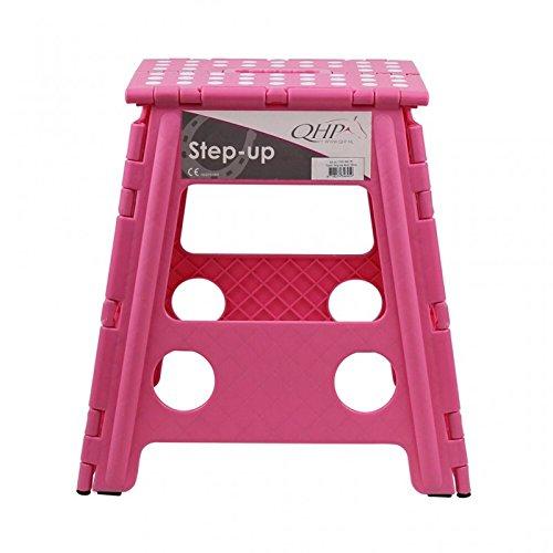 QHP Step up Hocker Aufstieghilfe Kunststoff klappbar Höhe 39 cm (Rosa)