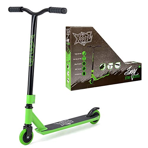 Xootz Kids Y Bar Complete Stunt Scooter Trick 360 Scooter with ABEC 7 Bearings Green