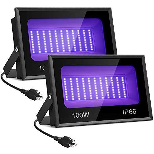 Onforu 2 Pack 100W UV LED Black Light, UV Flood Light, IP66 Waterproof Outdoor Floodlight with Plug for Dance Party, Stage Lighting, Glow in The Dark, Body Paint, Aquarium (Renewed)