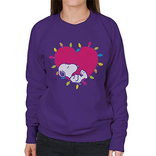 Peanuts Snoopy Sleeping In A Lit Up Pink Heart Women's Sweatshirt