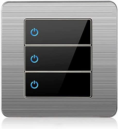 PJDOOJAE 86 Tipo Tap Interruptor 1-4gang 2way Interruptor de control único Socket de enchufe Interruptor de luz de acero inoxidable Dibujo de alambre de acero Interruptor de la lámpara de pared para e