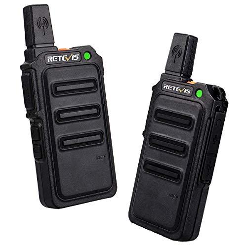 Retevis RT619 Walkie Talkie Recargable Profesional PMR 446 sin Licencia 16 Canales VOX Two Way Radio con Cargador USB Universal (Negro,1 Par)