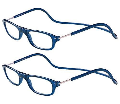 TBOC Pack: Occhiali da Vista Lettura Presbiopia - (Due Unità) Graduati +3.00 Diottrie Montatura Blu Regolabili Pieghevoli Chiusura Clip Magnetici Vicino Donna Uomo Appendere Collo