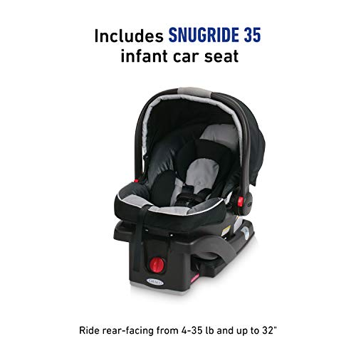 Graco FastAction Fold Jogger Travel System | Includes the FastAction Fold Jogging Stroller and SnugRide 35 Infant Car Seat, Gotham