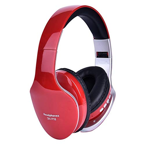 WYH Música Auriculares inalámbricos Bluetooth estéreo for Auriculares Plegable Gaming Auriculares con micrófono for PC de teléfono móvil MP3 Resistente al Sudor (Color : Red)