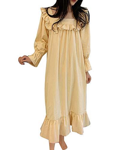 GuoCu Damen Victorian Vintage Prinzessin Süß Langes Kleid Nachthemd Pyjamas Nachtkleid Lang Nachtwäsche mit quadratischem Hals Schlafkleid-Loungewear mit spitzenverzierter Rüsche Milchbeige XL