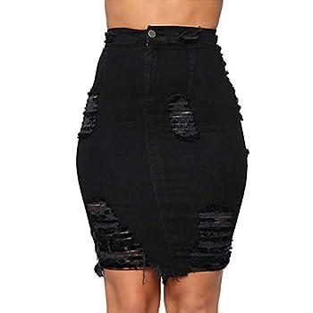 Verypoppa Women s Ripped Denim Skirt High Waisted Distressed Jean Pencil Skirts  Black Small