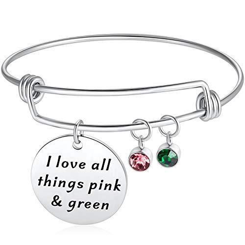 Ralukiia Alpha Kappa Alpha Sorority Paraphernalia AKA Sorority Sister New Member Initiation Day Pink Green Charm Bracelet