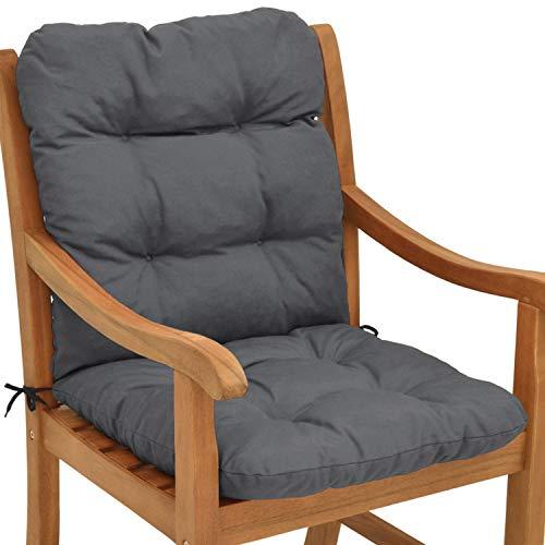 Beautissu Cojín para sillas de balcón Flair NL - Cojín para Asiento Exterior con Respaldo bajo - 100x50x8 cm - Relleno de Copos de gomaespuma - Gris Grafito…