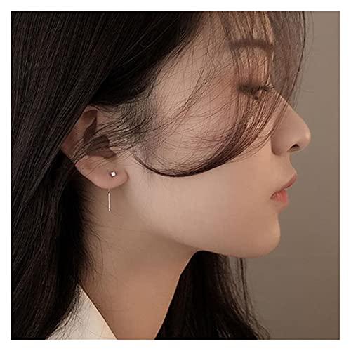 LHYLHY Pendientes geométricos de Pendiente de Pendiente de Coloreado Coreano Pendientes de Gota de Barras para Mujer Minimalismo Línea Oreja Joyería KPOP Regalo (Metal Color : Silver Color)