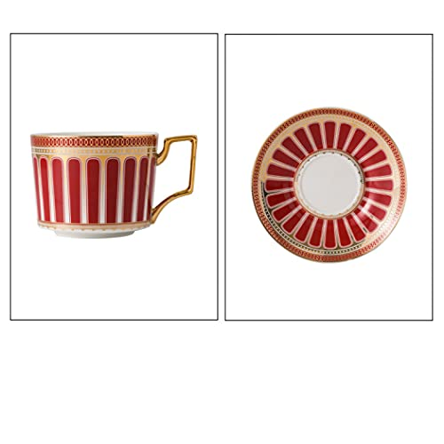 Juego de tazas de café de porcelana, 250 ml, con patrones geométricos azules y blancos, caja de regalo, taza de té de cerámica con platillo para café, capuchino, té de flores o leche (rojo)
