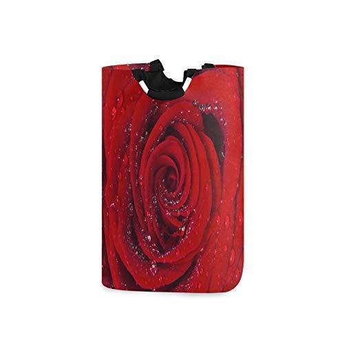 BGIFT Cesta de lavandería plegable con asa impermeable, doble grande, con diseño de rosas rojas y flores