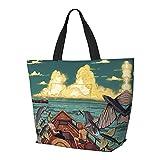 Bolsa de hombro de una pieza para viajes de playa diarios de gran capacidad para compras de ocio y aprendizaje, reutilizable y duradero multifunción