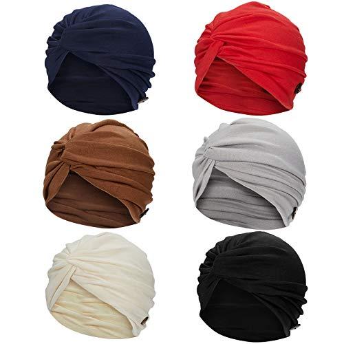 6 Stück Turban mit Knöpfen, Damen, Turban, vorgeknüpft, weich, plissiert,...