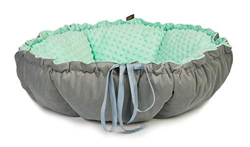 Lauren Design Rund Flauschig Hundebett & Katzenbett | Waschbar Zweifarbig Hundeliege für Kleine und Mittlere Hunde Exklusive Faltbar Kissen Tierbett (Minze)