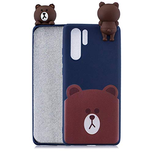 LAXIN Case for Huawei P30 Pro, 3D Design Premium TPU Soft Silicone Gel Case with Cute Bear Pattern Flexible Protective Skin Cover for Huawei P30 Plus