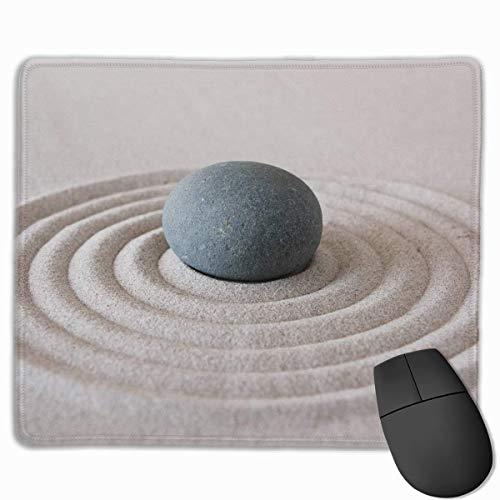 Spa Dekoration Asiatischer Zen Garten Steinsand Zen Personalisiertes Design Mauspad Gaming Mauspad mit genähten Kanten Mousepads, rutschfeste Gummibasis - Beste Geschenkidee