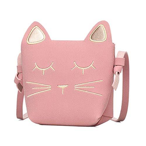 Danolt Bolsos para niñas, Pequeño y lindo gato de dibujos animados Bolso bandolera Bolsos de color rosa Bolso para 3-12 años de edad, niñas Festival de cumpleaños Regalo