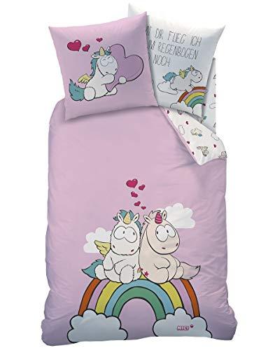 Familando Einhorn Wende Bettwäsche Set 135x200 80x80cm, Linon, Regenbogen 44965 Kinderbettwäsche rosa